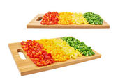 Sweet bell pepper cut in pieces — Stock Photo