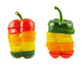 Sliced sweet bell pepper isolated — Stock Photo