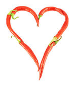 Heart made of chili peppers isolated — Stock Photo