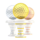 Award golf ball sport trophy cup — Stock Photo