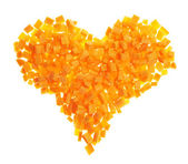 Heart shape made of carrot pieces — Stock Photo