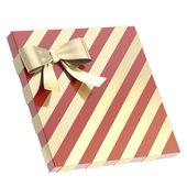 Zapakowane pudełko z kokardą i wstążki — Zdjęcie stockowe