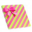 Wrapped gift box with a bow and ribbon — Stock Photo #44725765