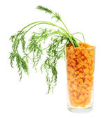 Glass full of carrot pieces isolated — Stockfoto