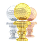 Award golf ball sport trophy cup — Stock Photo