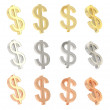 Dollar currency sign set isolated — Stock Photo #44805179
