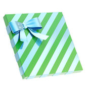 Wrapped gift box with a bow and ribbon — Stockfoto