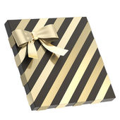 Wrapped gift box with a bow and ribbon — 图库照片