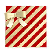 Wrapped gift box with a bow and ribbon — Photo
