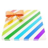 Wrapped gift box with a bow and ribbon — Foto de Stock