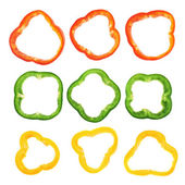 Set of sliced bell pepper section pieces — Stock Photo