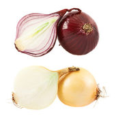 Cut red and white onion composition — Stock Photo