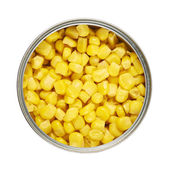 Metal can full of corn kernels isolated — Stockfoto
