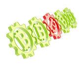 行 bitcoin 記号で歯車の分離 — ストック写真