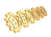 Row of a gears with a bitcoin sign isolated — Stock Photo