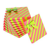 Twisted pile of gift boxes isolated — Stock fotografie