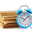 Blue alarm clock with books — Stock Photo #47428349
