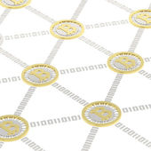 Golden currency coins — Stock Photo