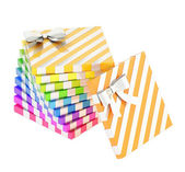 Twisted pile of gift boxes isolated — Стоковое фото