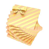 Twisted pile of gift boxes isolated — Stock Photo