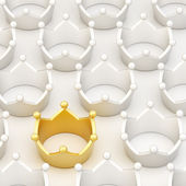 Golden crown among white ones — Stock Photo