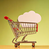 Cloud shape inside shopping cart — Stock Photo