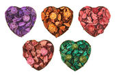 Hearts filled with medley potpourri — Stock Photo