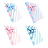 Gift boxes with bows and ribbons — Stock Photo