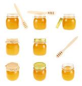 Set of honey jar images — Stock Photo