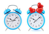 Blue alarm clock isolated — Stock Photo