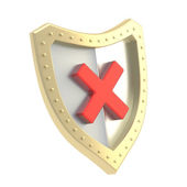 No x cross mark sign over a shield — Stock Photo