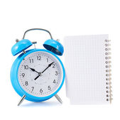 Alarm clock and notebook composition — Stok fotoğraf