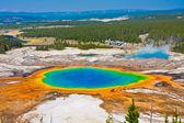 Världen berömda grand prismatic våren i yellowstone national park — Stockfoto