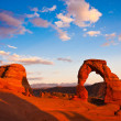 Dedicated Arch under Sunset in Arches National Park, Utah — Stock fotografie