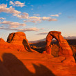 Dedicated Arch under Sunset in Arches National Park, Utah — Foto de Stock