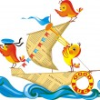 Juveniles chickens are sent in a voyage — Stock Vector