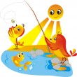 Chicks on fishing — Stock Vector