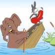 Elephant and rabbit drown in a boat — Stock Vector
