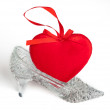 Heart on shoes — Stock Photo
