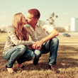 Stock Photo: Young couple in love outdoor