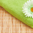 Stack of the towels with flower — Stock Photo