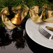 Stock Photo: White empty plate with cutlery and Christmas ornaments