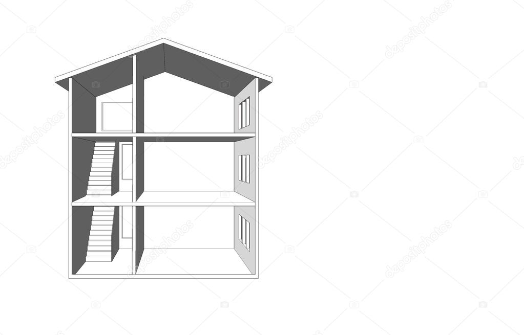 Disegno di una casa vuota con una scala nella sezione a for Casa a tre piani