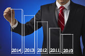 Businessman drawing a growth graph 2014 — Stock Photo