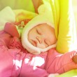 Sleeping beautiful newborn baby girl — Stock Photo #43536245