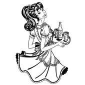 Retro waitress brings beer order — Stock Vector