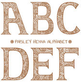 Paisley henna alphabet a,b,c,d,e,f — Stock Vector