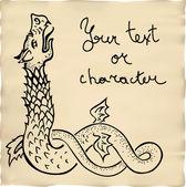 Ink drawn dragon vignette — Stock Vector
