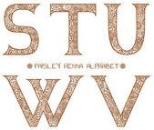 Paisley henna alphabet s,t,u,v,w — Stock Vector