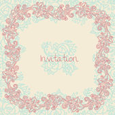 Ornate floral invitation card — Stock Vector